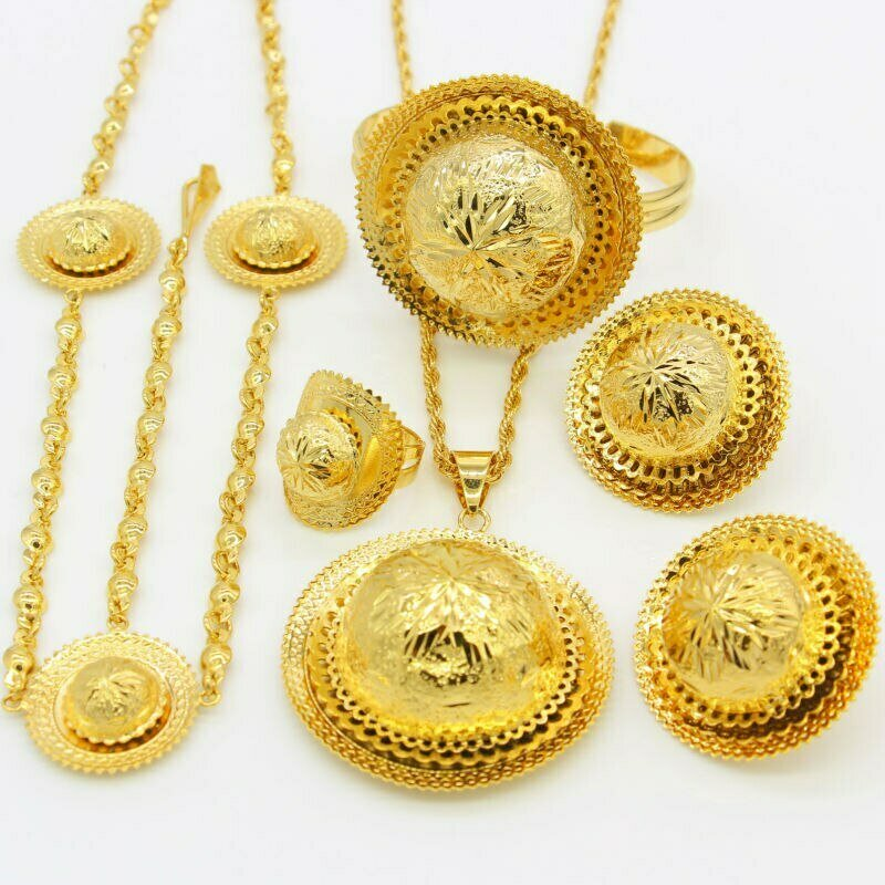 Jewelry-Sets Habesha Ethiopian Traditional African Gifts Gold-Color Wedding/party Women