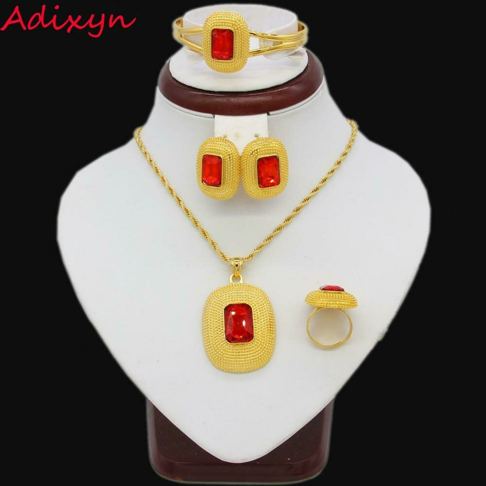 Wedding-Jewelry-Sets Ethiopian Gifts Bangle/pendant Red-Stone Gold-Color Women African