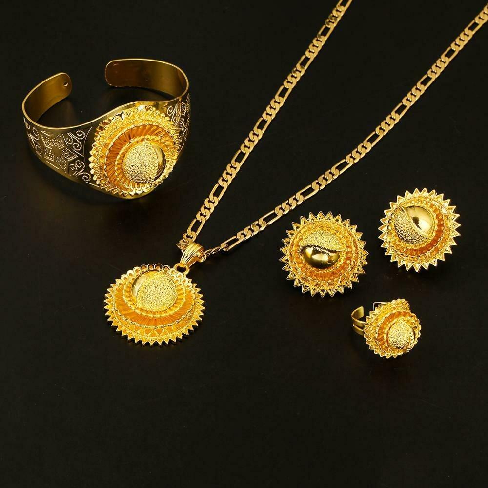 Ethiopian 22K Gold Color African Nigeria Sudan Kenya Habesha Wedding Jewelry Set