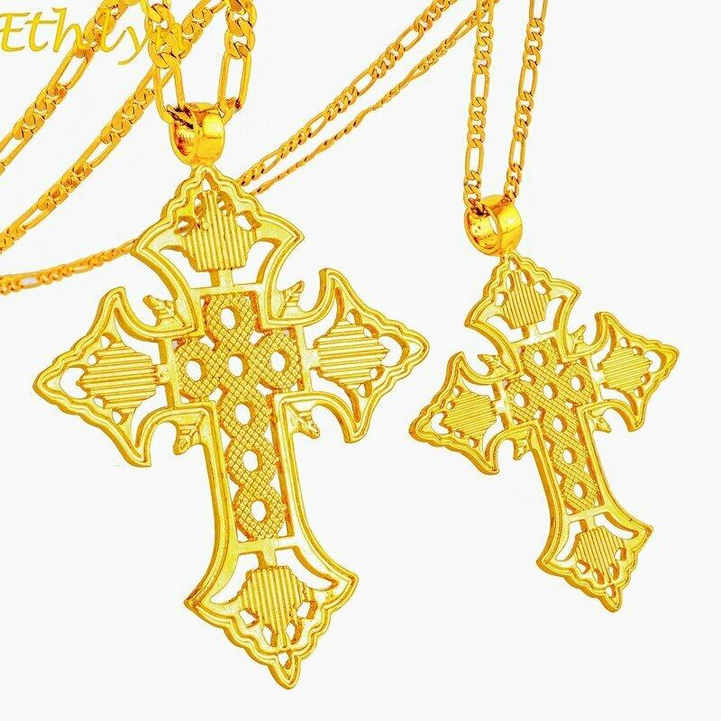 Gold Charm Pendant Jewelry Cross-Necklace Ethiopian Ethlyn Women/men for Good-Style Eeligion