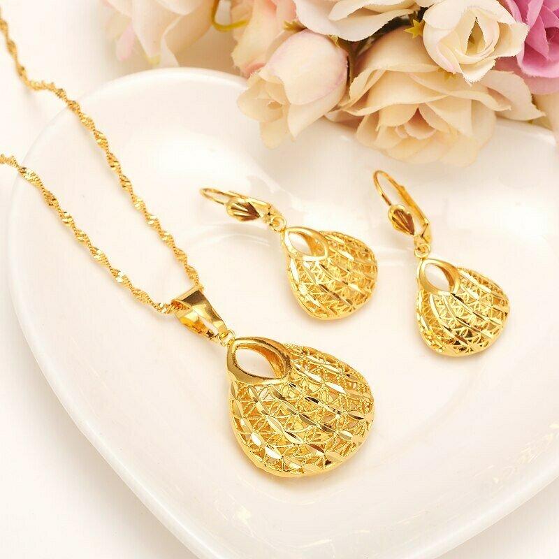 Pendant Necklace Wedding Jewellery Earring Ethiopian-Set Bridal Girlsgift Gold-Color