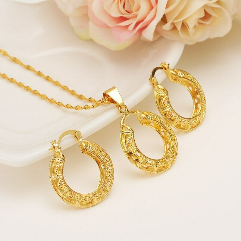 Pendant Necklace Ethiopian-Set Wedding Jewellery Earring Bridal Girlsgift Gold-Color