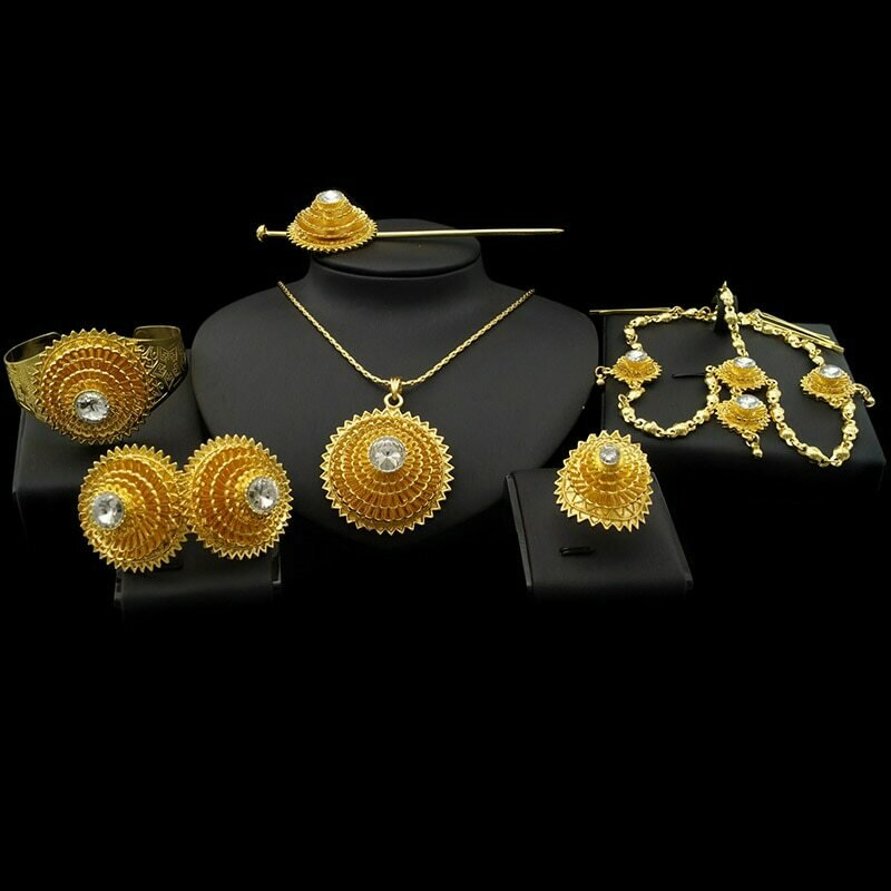 Jewelry-Sets Earrings Wedding-Jewellery Necklace Bracelets Ethiopian Gold-Color Hairpin