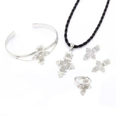 Cross-Jewelry Habesha Ethiopian Traditional Eritrea Silver-Color Women African Party