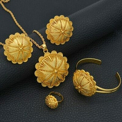 Bangles Earrings Jewelry-Sets Necklaces Ethiopian Anniyo Bride-Gifts Eritrean Gold-Color