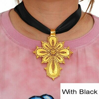 Anniyo Ethiopian Cross Pendant DIY Rope Chain for Women Girls.Gold Color Eritrea Jewelry