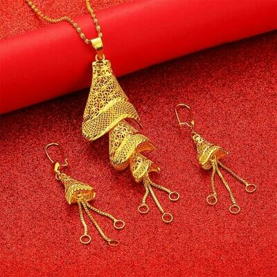 Jewelry-Set Earrings Necklaces Ethiopian Wedding Fulani Gold-Color African Gifts Big-Pendant