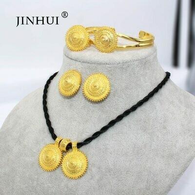 Jewelry-Sets Earring-Ring Pendant Necklace Ethiopian Dubai Eritrea Gold-Gifts Women African