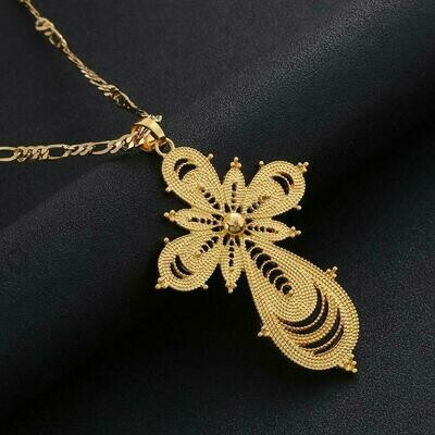 Ethiopian Gold Color Cross Pendant Necklaces for Women Africa Ethnic Trendy Chain Jewelry