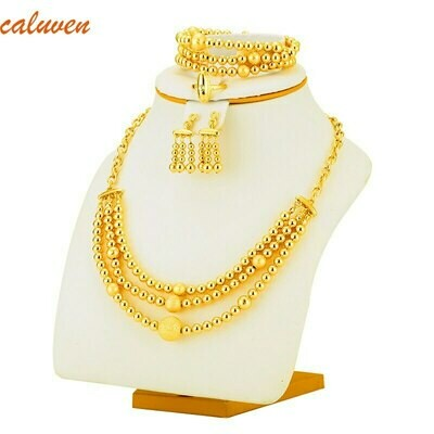 Bracelet-Set Jewelry-Ball Bead Necklace Earrings Gold-Color Africa/arab/middle-east/Ethiopian