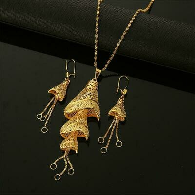 Earrings Women Jewelry-Set Necklaces Ethiopian Wedding-Party Fulani Gold-Color African