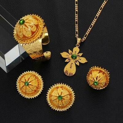 Wedding-Jewelry-Set Habesha Green-Stone Gold-Color Bride Blue Women Red