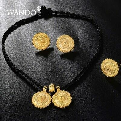 Jewelry-Set Big-Pendant-Earrings Ethiopian Eritrean WANDO France Wedding-Gift Gold-Color