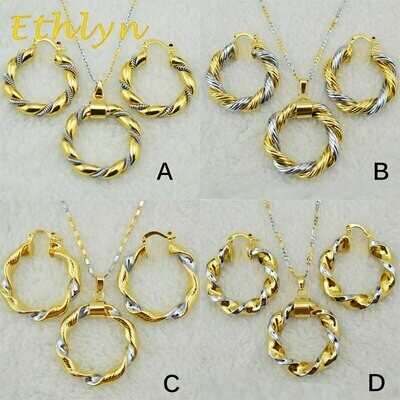 Earrings-Sets Jewelry Necklace Ethiopian African/eritrean Ethlyn Gold-Color Women New-Arrival