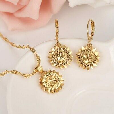 Jewelry Necklace Ethiopian-Set Habesha India Gold Earring Pendant Dubai Flower-African