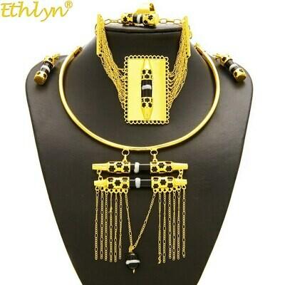 Gold-Color Jewelry-Sets Habesha Ethlyn Enamel-Tassel Nigerian/african-Design Wedding