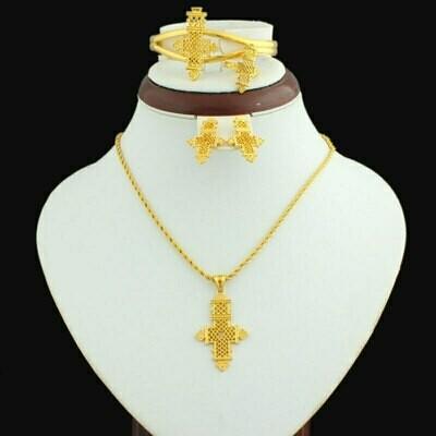 Cross-Pendant Ethiopian Jewelry 24k-Gold-Color African Bangle/ring-Set Wedding Women