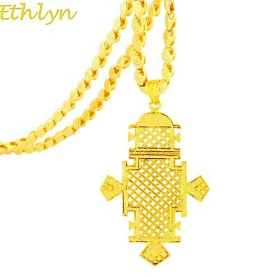 Necklace Ethiopian Jewelry Cross-Pendant Ethlyn Wedding-Traditional Gold-Color Unisex