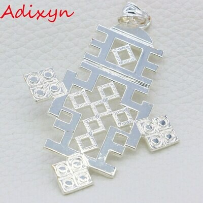 Pendant Ethiopian/african Cross-Necklace Adixyn Silver-Plated Women/men for Party Gifts
