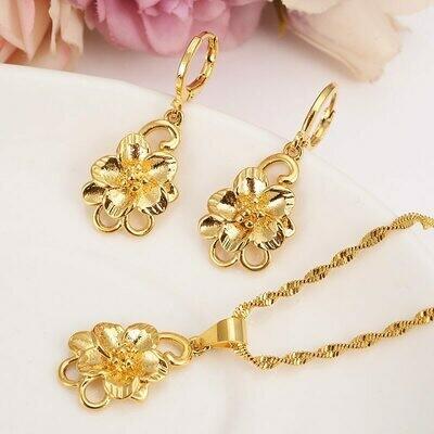 Earrings Jewelry-Sets Habesha Ethiopian Dubai Flower Gift Pendnat Africa Gold Bridals