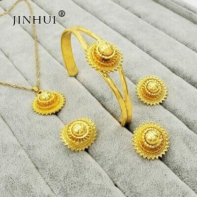 Jewelry-Sets Earring-Ring Necklace Ethiopian Dubai 24k-Gold Wedding-Gifts Bridal Nigeria