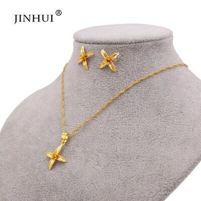 Pendant Necklace Jewelry-Sets Earrings Wife-Gifts Dubai Wedding-Gold African Women Flowers