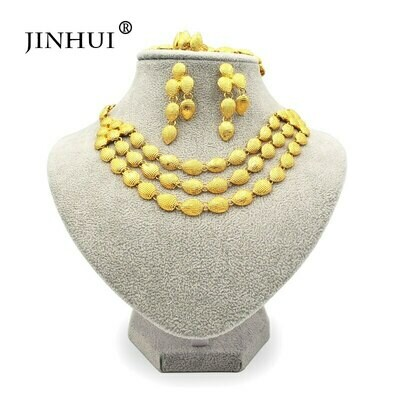 Bangles Jewelry-Sets Ethiopian 24k-Gold-Color Necklace Earring Eritrea Gifts Women African