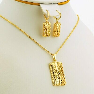Jewelry-Sets Wedding-Gift Pendant/earring Nigerian Women's Jhplated with
