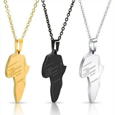 Pendant Necklace Ethiopian Jewelry African-Map Women Hiphop-Map Silver-Color/gold-Color
