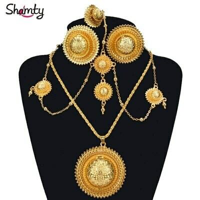 Headdress-Set Necklaces-Rings Bridal-Jewelry-Sets Ethiopian Wedding-Earrings Habesha-Style