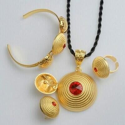 Bangle Earrings Jewelry-Sets Necklace Habesha Ethiopian Blue/green-Stone African -J0804