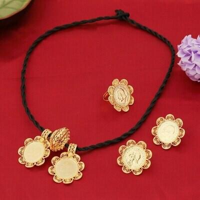 Bride Jewelry Ethiopian Habesha Eritrea African Wedding Gold-Color Big-Coin 22k