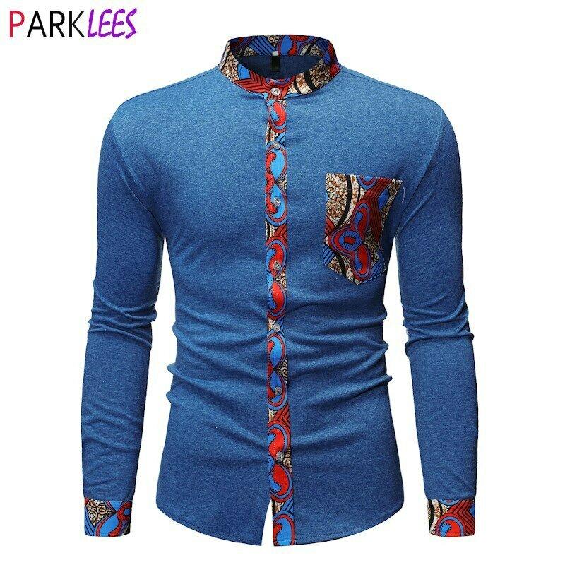 Patchwork Shirt Clothing Dashiki Mens Dress Long-Sleeve Nehru-Collar Traditional African
