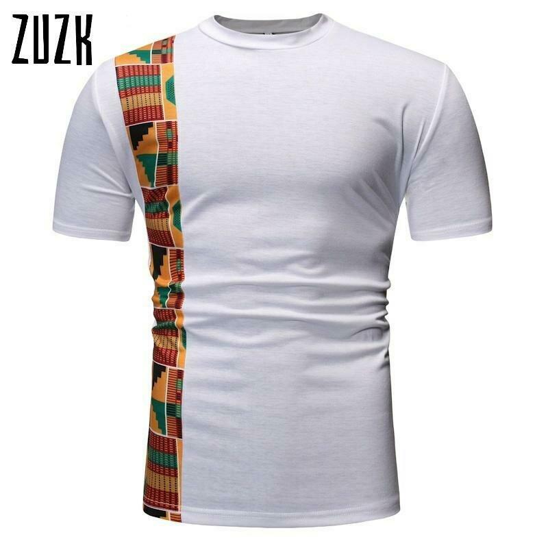 T-Shirt Men Dashiki Hipster Short-Sleeve Patchwork White African ZUZK Camisetas Hip-Hop