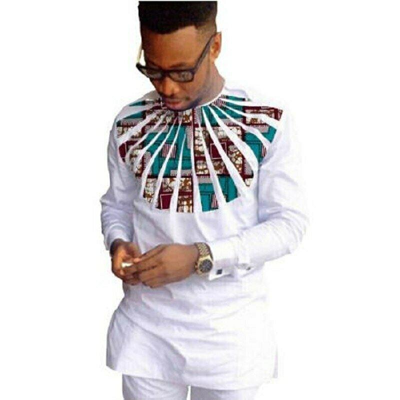 Men's Shirt African Clothing Customized-Wear Patchwork Print White Ankara O-Neck
