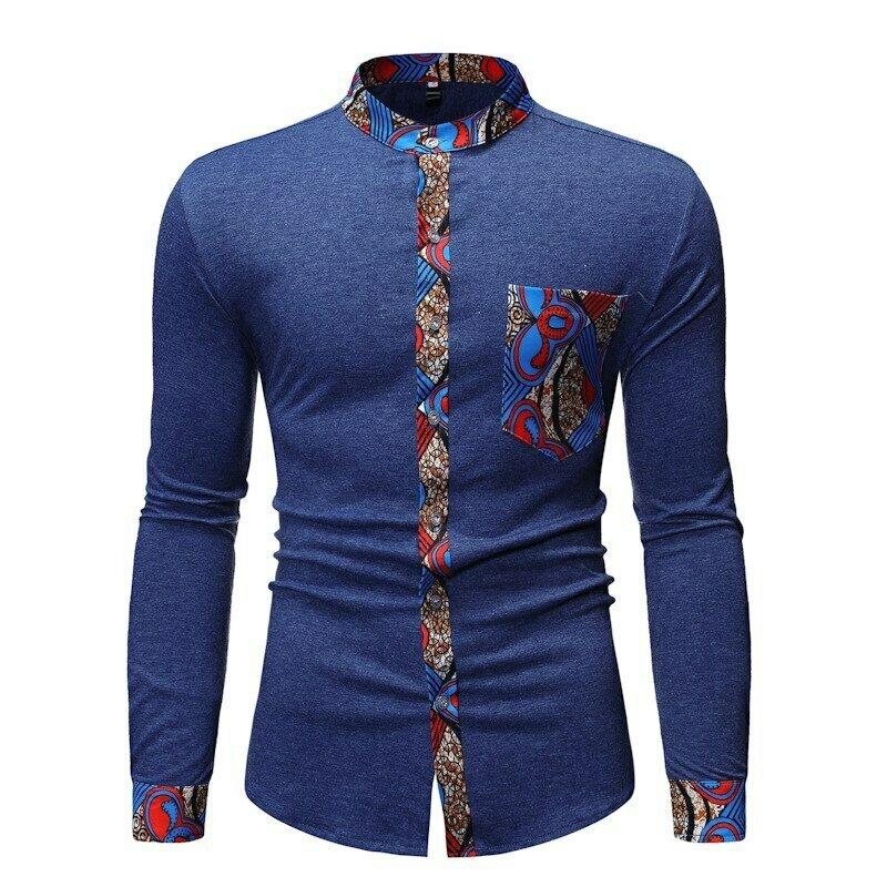 Dashiki-Shirt African Clothes Streetwear Patchwork Business Casual Masculina Men Camisa