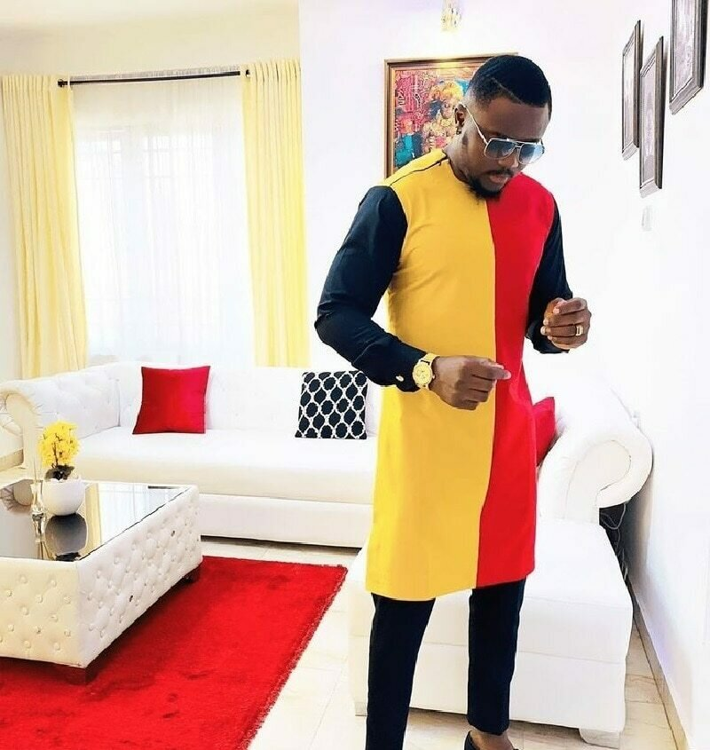 Red yellow and black patchwork shirt for men African fashion costume tailor made Dashiki