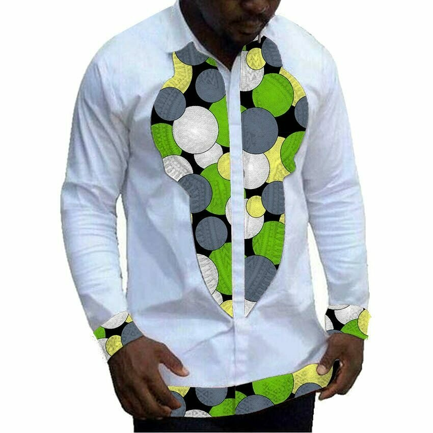 Men's Shirt Clothing Tops Dashiki Patchwork Customized White Male African Ankara Print