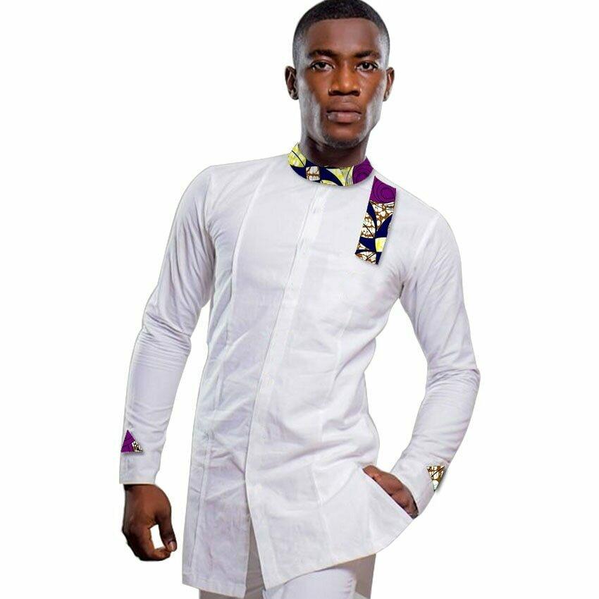 Men Dress Stand-Collar Dashiki Wedding Shirts Tops Patchwork Man African White/print