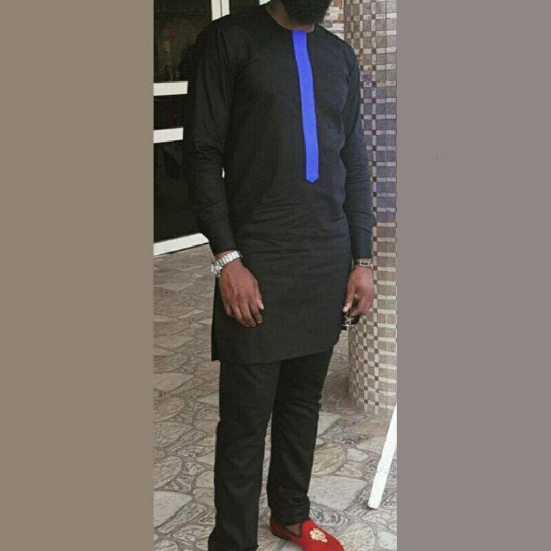 Men's Set African Shirt Clothing Pant-Sets Suits Trouser Wedding-Wear Custom-Made Black