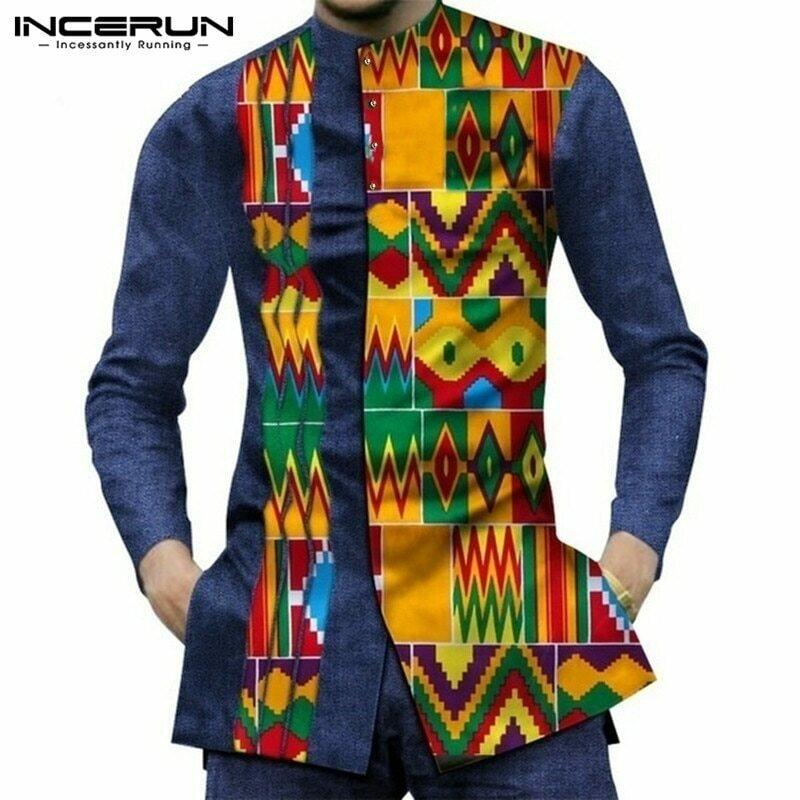Men Shirt Camisas Dashiki Button Patchwork Streetwear Long-Sleeve INCERUN African Casual