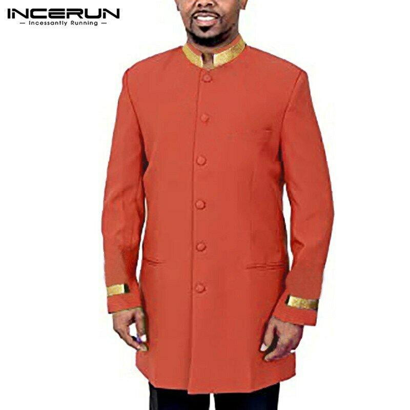 Tops Shirt Button Patchwork-Stand-Collar Streetwear Long-Sleeve Incerun Men African Fashion