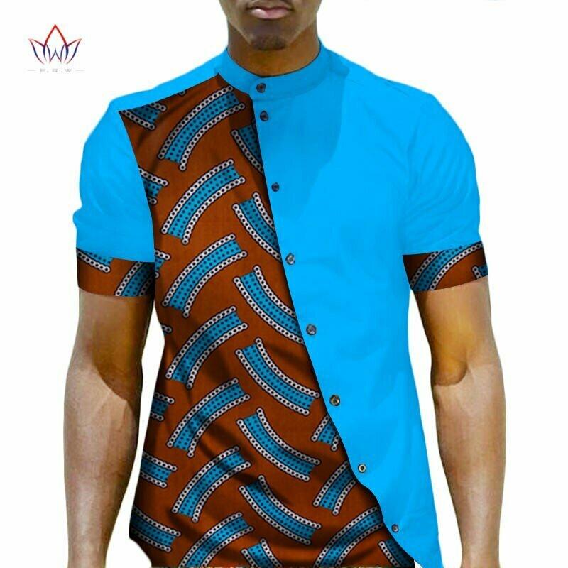 African Clothing Top-Shirt Bazin Patchwork Dashiki Men Riche XXXL Button