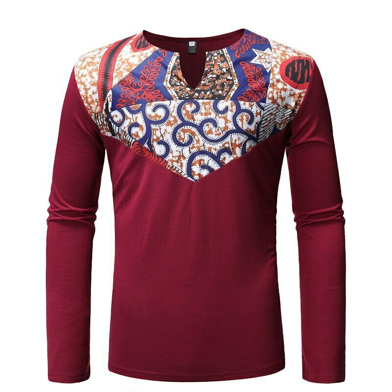 Tshirt Dashiki African Clothes Wax-Print Patchwork-Design Ankara Men Tee Hipster Homme