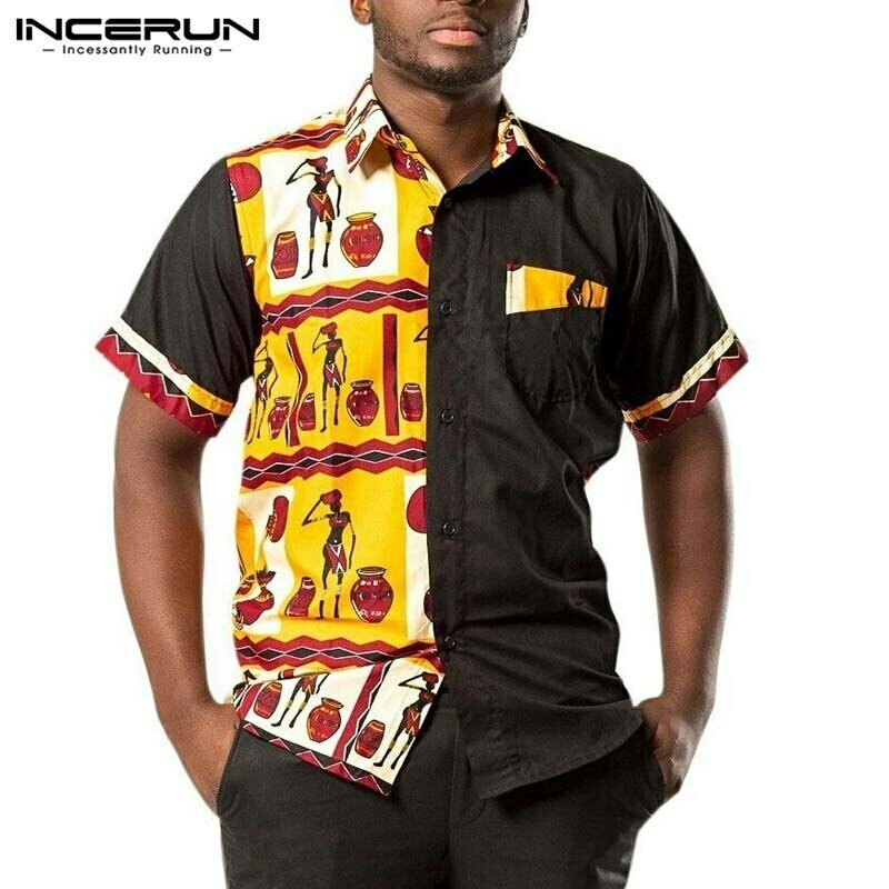 Men Shirt Camisa Short-Sleeve Dashiki Patchwork INCERUN African Summer Print Lapel Casual