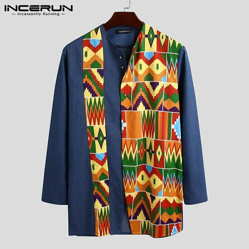 Men Shirt Camisas Button Dashiki Patchwork Streetwear Long-Sleeve INCERUN Casual Print