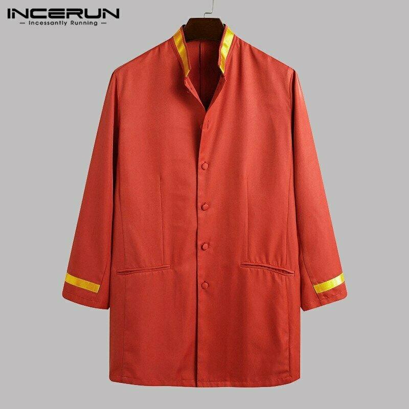 Men Tops Shirt Dashiki-Clothes Patchwork-Stand-Collar Long-Sleeve Elegant African 5XL