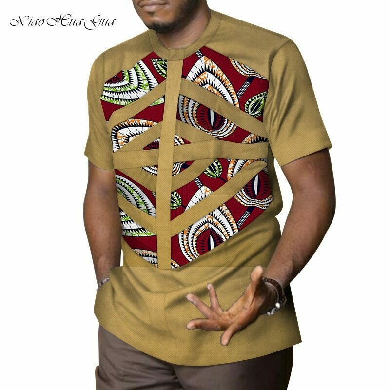 Traditional African Clothing Shirt Dashiki Bazin Patchwork Print Riche Casual Cotton