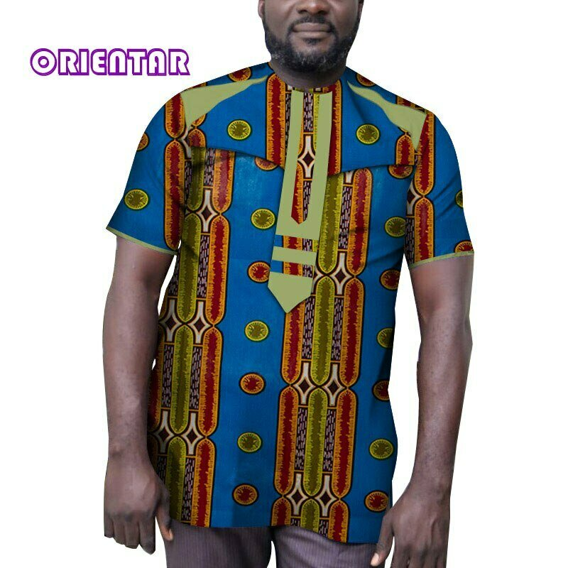 African Dashiki Print-Patchwork Men Cotton for Short-Sleeve T-Shirt Tops Male WYN1062