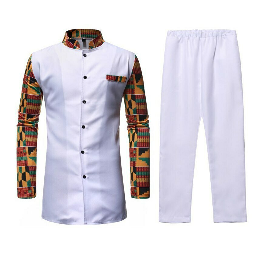 African Dashiki Shirt Trousers Clothing-Set Patchwork Bazin Riche for Man Tribe Chief